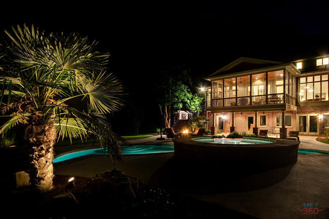 Architectural Photography:  night shot of the pool