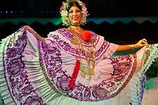 "Women Dancing with ""La Pollera"", Panamanian Typical Dress"